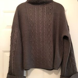 Sweaters - Mock neck bell sleeve olive green cotton sweater